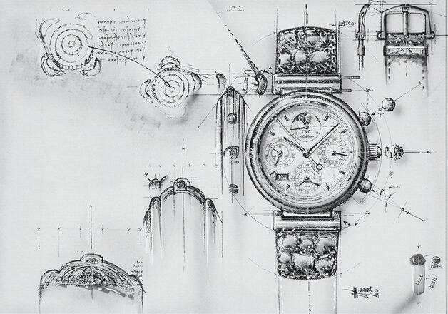 Sketch of the original replica IWC Da Vinci Perpetual Calendar